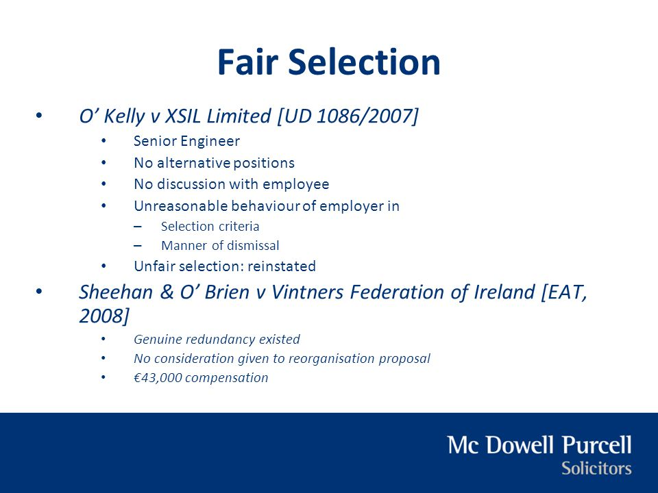 Fair Selection O' Kelly v XSIL Limited [UD 1086/2007]